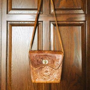 Vintage Genuine Leather Floral Purse